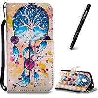 Moto G4 Play Case, Motorola Moto G4 Play Leather Case, Slynmax 3D Printing Campanula Design Flip Folio PU Leather Wallet Case Inner Soft TPU Cover with Stand Function Hand Strap Card Holders Magnetic Closure Ultra Thin Book Style Shock Resistant Protectiv