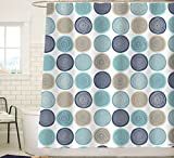 Sunlit Abstract Tree Rings Pattern Woody Artistic Fabric Shower Curtain. Nature Pale Blue Teal Beige Light Brown