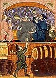 Vintage Beers, vini e alcolici monaci making e bere birra. Da un libro dal Cocharelli famiglia di Genova, Italia, C1330–1340250gsm lucido arte della riproduzione A3poster