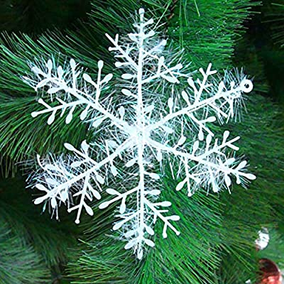 30 PCS 22cm White Hanging Snowflakes Christmas Decorations