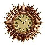 Tourwell Vertrieb XL Retro Wanduhr Sunburst Uhr - aus hochwertigem wetterfestem Resin - für innen und außen geeignet - Designer Wanduhr