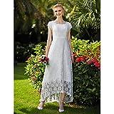 kekafu A-Line Jewel Hals Asymmetrische Spitze Tüll Hochzeit Kleid mit Spitze LAN Ting Braut Drapiert