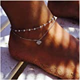 Edary Boho cuore a strati ciondolo cavigliera strato cavigliere moda vintage perline catena cavigliera spiaggia cavigliera br