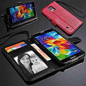 Litchi Grain Leather Purse Wallet Case Cover w/ Card Slots / Stand for Samsung Galaxy S5 i9600 - 5 Colors