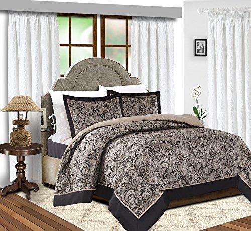 Bettdecken 3 PCS (Stück) Jacquard gesteppte König (225 x 255 cm) Tagesdecke Schlafzimmer Tröster (König (225 x 255 cm), Schwarz und Creme)