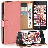 moex iPhone 4S | Hülle Korall mit Karten-Fach 360° Book Klapp-Hülle Handytasche Kunst-Leder Handyhülle für iPhone 4/4S Case Flip Cover Schutzhülle Tasche