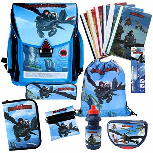 Dragons - Kinder Ranzen Set - Schulranzen Set 8-teilig & Schnellhefter