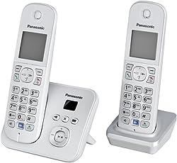 Panasonic KX-TG6822GS DECT-Schnurlostelefon (4,6 cm (1,8 Zoll) Grafik-Display) mit Anrufbeantworter perl-silber