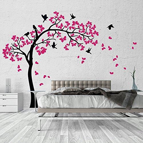 01381 Adesivo murale Wall Art - Albero d'estate - Misure 170x170 cm - nero e fucsia - Decorazione parete, adesivi per muro, carta da parati