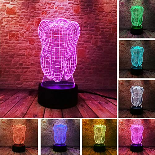 LULO New Fantastic Illusion Tooth 3D LED Night Light Colorful Bedroom Atmosphere Touch Table Cool Lamp as gift for dentist