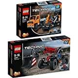 Lego Technic 2er Set 42060 42061 Straßenbau-Fahrzeuge + Teleskoplader