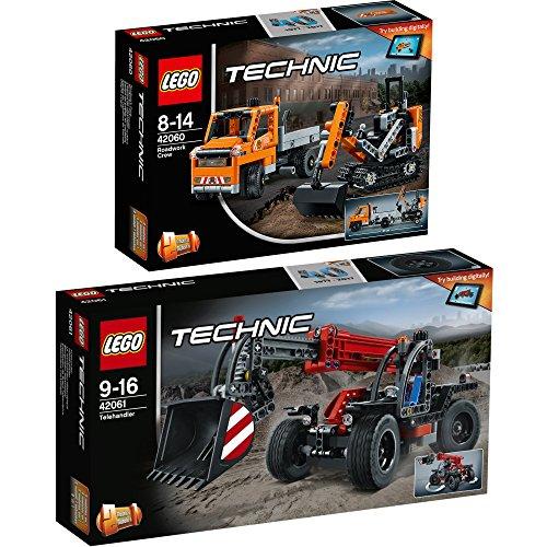 Preisvergleich Produktbild Lego Technic 2er Set 42060 42061 Straßenbau-Fahrzeuge + Teleskoplader