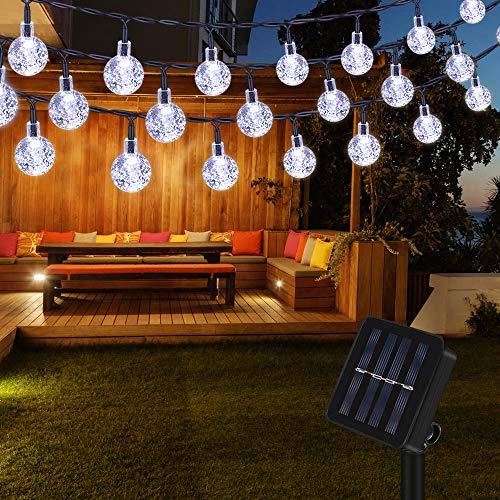 Lichterkette Solar Aussen, Vegena Weiß LED Lichterkette Solarlampen Außen Kristall Kugel 6.5M 30 LEDs IP65 Wasserdicht für Balkon Bäume Terrasse Hof Weihnachten Party Garten Deko Energieklasse A+++