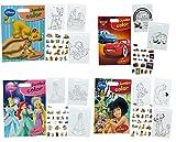 3 Stück: XXL Malbuch A3 / Malblock als Poster Bilder mit 23 Sticker - Disney Cars - Princess - Tiere - Bambi - König der Löwen u.v.m. - 15 Seiten - für Jungen - große Malvorlagen - Malbücher Ausmalbilder Aufkleber