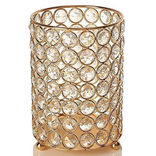 (VINCIGANT Weihnachten Kerzenhalter Kristall Teelichthalter Zylinder mit 2 Meter Warme Weiße String Licht Tischdeko für Mittelstücke)