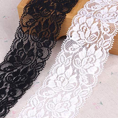 Yulakes - Rouleau de ruban en dentelle - Broderie perlée - Extensible - Floral - Pour tressage, mariage - Décoration pour travaux manuels - Rugueux - 7 cm de large - 9,1 m