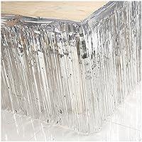 Comfysail Metallic Shimmer Fringe Foil Tissue Table Skirt Party Wedding Decoration 74*274cm