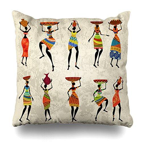 Suesoso Dekorative Kissen Fall 50,8x 50,8cm Zwei Seiten Bedruckt Afrikanische Frau Grunge Überwurf Kissenbezug Dekorative Home Decor Innen...