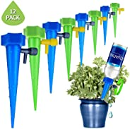 Hamkaw 12 Pack Adjustable Self Watering Spike Slow Release Plant Waterer Automatic Garden Plants Drip Irrigation System Vacat