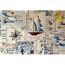 Grande 60x 40cm vela náuticas barcos barco brújula tela hecha a mano aviso/Pin/Pizarra
