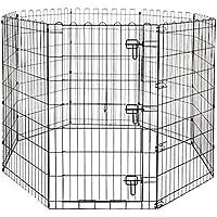 AmazonBasics Foldable Metal Pet Dog Exercise Fence Pen With Gate - 60 x 60 x 42 Inches