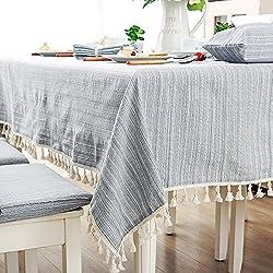 Manteles rectangulares de tela de algodón con borla, 100 x 140 cm, diseño de rayas