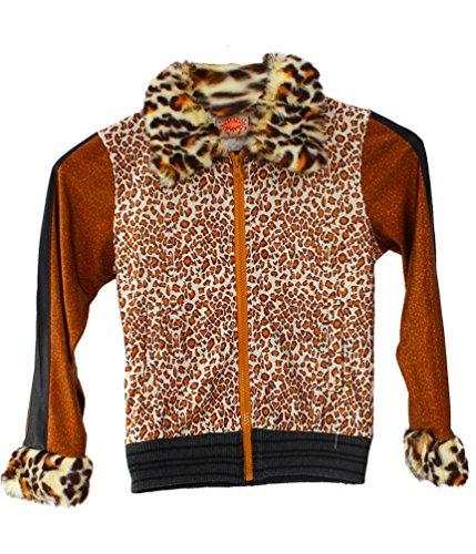Karneval-Klamotten Rockstar Mädchen-Kostüm Jacke Popstar Mädchen Kinder-Kostüm Sängerin Musikerin Disco Jacke Tiger braun Größe 140