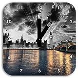 wunderschöne Westminster Abbey mit Big Ben schwarz/weiß, Wanduhr Quadratisch Durchmesser 28cm mit schwarzen eckigen Zeigern und Ziffernblatt, Dekoartikel, Designuhr, Aluverbund sehr schön für Wohnzimmer, Kinderzimmer, Arbeitszimmer