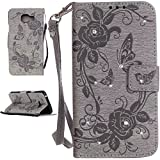 IBEQUANIC Coque Samsung Galaxy A3 2016, Premium Bling Bling Etui (Gaufrage Design) Housse pour Samsung Galaxy A3 (2016) SM-A310F Gris