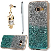 Galaxy A3 Case 2017, YOKIRIN Luxury Bling Glitter Sparkle Designer Case Ultra Slim Fit Lightweight Shockproof Scratch Resistant TPU Gel Soft Thin Silicone Back Cover for Samsung Galaxy A3, Sliver and Blue