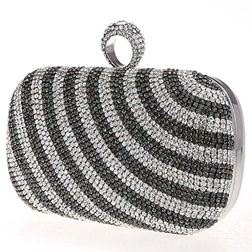 ERGEOB® Damen Clutch Diamant Abendtasche für Party Hochzeit Schwarz + Silber