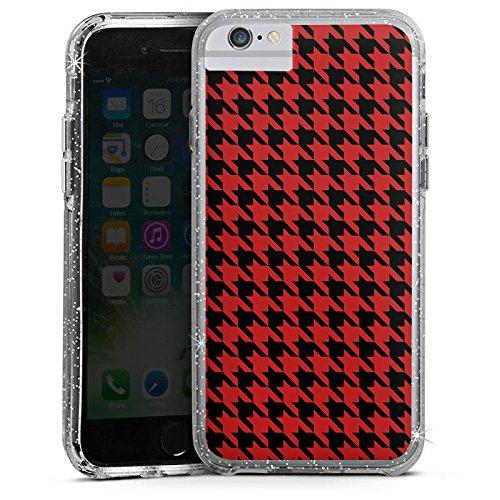 Apple iPhone 6 Bumper Hülle Bumper Case Glitzer Hülle Pattern Muster Hahnentritt Bumper Case Glitzer silber