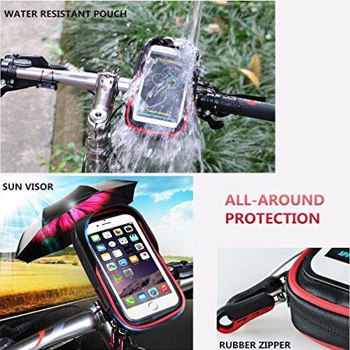 Radfahren Bike Lenkertasche - Wasserdichte Top Tube Lenkertasche Fahrrad Front Frame Bag Telefon Mount Halter mit Touchscreen für Mobiltelefon unter 6 Zoll Blau