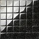 Glasmosaik Fliesen 30cm x 30cm x 8mm Matte in Schwarz mit Glitzer (MT0088)