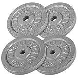 GORILLA SPORTS Hantelscheiben-Set Gusseisen 30 kg - Gewichte mit 30/31 mm Bohrung in Gold