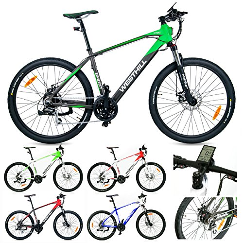 West Hill GHOST Electric Mountain Bike – 36 VOLT Li-ion SAMSUNG Battery – On Board Computer (Graphite & Green)