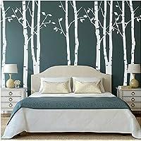 Set di 9 adesivi da parete di alberi di betulla grandi, colore: bianco, Adesivi da parete per cameretta, soggiorno