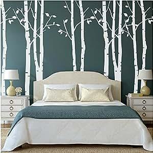 Set di 9 adesivi da parete di alberi di betulla grandi - Alberi decorativi da parete ...