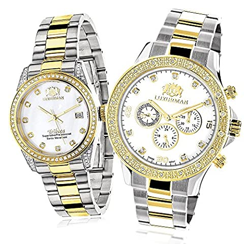 Matching Watches for Couples LUXURMAN Two-Tone Yellow Gold Plated Diamond Watch Set Swiss Quartz