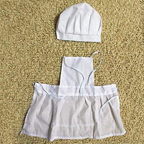 Kongqiabona Babymütze Cute Baby White Cook Kostüm Foto Fotografie Prop Outfit Neugeborenen Hut Schürze Chef Kleidung DIY Funning Requisiten Für ()