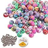 Perline rotonde di argilla, 300 pezzi di perline colorate in fimo polimerico, con 100 perline distanziatrici e 1 rotolo da 18 m di filo di cristallo per creare braccialetti fai da te e gioielli