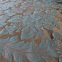 Porchester 'rococó azul grande patrón': Beige y azul damasco tapicería de sofá cojín tela retardante de llama Material de telas Loome, Porchester 'Rococo Blue Large Pattern' : Cream, 10 x 14 cm sample
