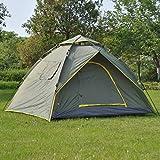 TY&WJ Vollautomatische Campingzelt, Offenen Große Zelte Kuppelzelte Wandern Outdoors Tunnelzug-zelt Double layer 3 personen-grün 200x220x140cm(79x87x55inch)