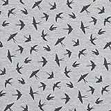 Fabulous Fabrics Jerseystoff kleine Schwalben – grau — Meterware ab 0,5m — zum Nähen von Kleidern, Leggings und Röcken