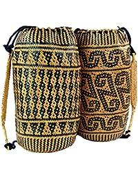 Guru-Shop Geflochtener Indonesischer Ethno Rucksack, Herren/Damen, Mehrfarbig, Size:One Size, Ausgefallene Stofftasche