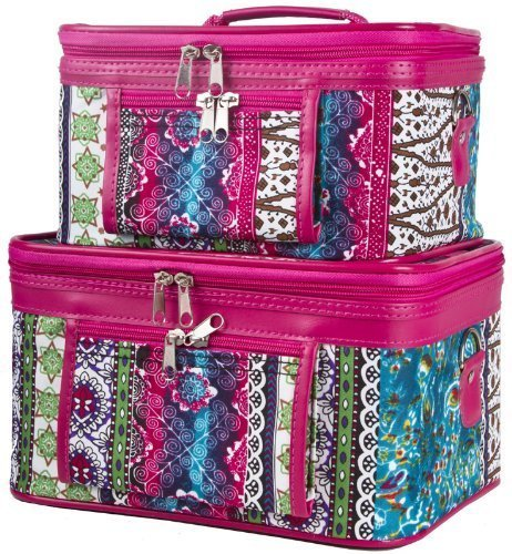World Traveler Pink Boho Patchwork Cosmetic Train Case (2-piece set) by World (Patchwork Tulip)