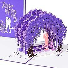 """Moderne Hochzeitskarte """"Paar unter Fliederbogen"""" 3D Pop up, handgefertigt, Karte, Liebe, Liebespaar, Brautpaar, Lavendel, Fahrrad, Glückwunschkarte Liebe, Valentinstag, Valentinskarte, Karte Verlobung, Hochzeitstag, Hochzeitseinladung"""