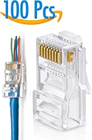 GTZ RJ45 Cat5/5e Pass Through Connectors Pack of 100 | EZ Crimp Connector Network Plug for Unshielded Twisted Pair Solid Wire