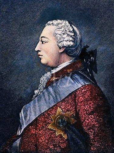 elbstklebend aus Vliesstoff oder Vinyl-Folie Unbekannter Künstler George III, 19.JH. Menschen historische Persönlichkeiten Graphische Kunst Blau C4YT (Peruke Perücken)
