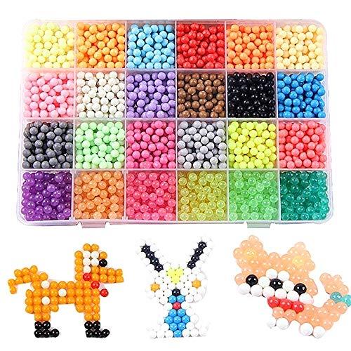 Ankamall Elec 24 Farben 3000 Nachfüllperlen für Aqua Pearl und Beados Art Crafts Toys für Kinder Classic Beads und Schmuck (Beados Perlen)